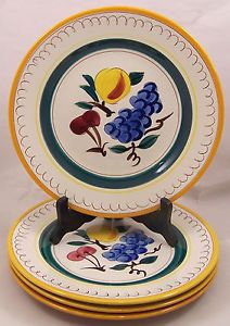 4-Stangl-Pottery-Fruit-Terra-Rose-Dinner-Plates-Hand-Painted-Very-Good-Condition