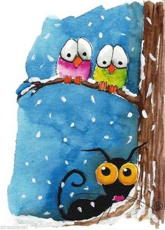 ACEO Original watercolor Folk Art whimsy Stressie cat bird snow fall tree winter
