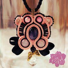coral black soutache necklace with little angel