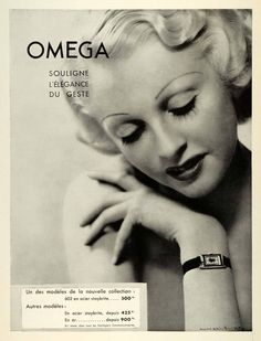 Omega watch ad from 1936. Oh yes, Baby, I would let you do the sales pitch!
