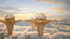 City in the sky - concept architecture by Tsvetan Toshkov, via Behance