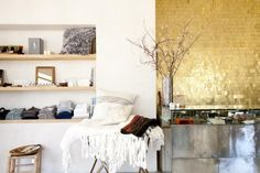 Luxus Wandgestaltung mit Gold-sichtbare Struktur-Schuppenartig