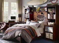 Old Surfboard Decoration of Modern Fitted Teen Boy Bedroom Design