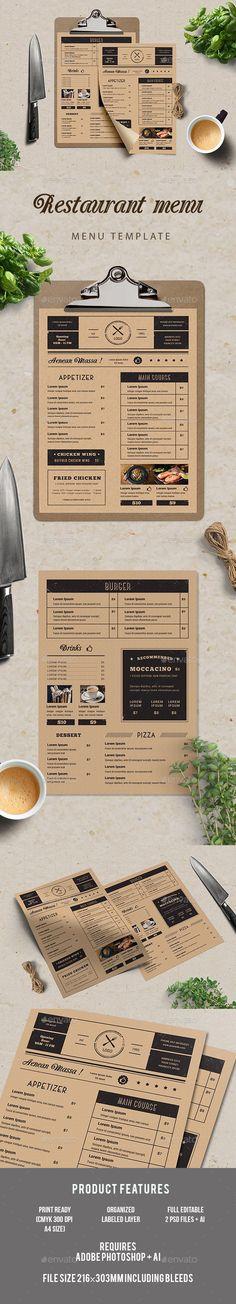 Simple Restaurant Menu Template PSD, AI Illustrator