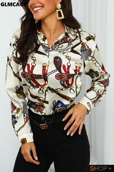2019 Women Scarf Print Button Up Casual Shirt Blouse Office Lady Long Sleeve Elegant Turn Down Collar Shirts Camisas Mujer Collar Shirts, Shirt Blouses, Satin, Office Ladies, Womens Fashion Online, Blouse Styles, Womens Scarves, Casual Shirts, Piercing