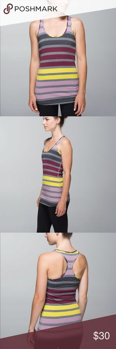 Lululemon Cool Racerback Stripe Tank Excellent used condition. Cool racerback triplet twin stripe mauvelous heathered slate. Luon light fabric, long length so it does not ride up. Rip tag is missing but it is a size 4. Bust 13'' Length 26'' lululemon athletica Tops Tank Tops
