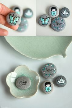 Mint pebbles | My new set of painted pebbles; for the love o… | Flickr - Photo Sharing!