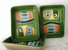 3 Artesa Hand Painted Abstract Stoneware Trays from Kitchengarden & Purses? Exclusively on Ruby Lane