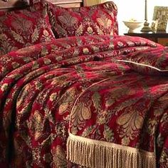 A BEAUTIFUL BURGUNDY AND GOLD BEDDING....CHERIE