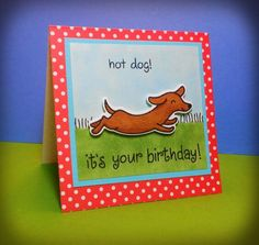 Birthday Card - Uses Lawn Fawn's Critters at the Dog Park rubber stamp set.