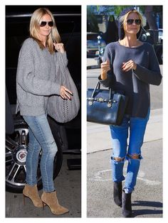 Heidi Klum - fall casual - oversized grey pullover sweater, jeans and booties
