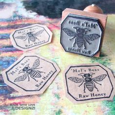 Bee: personalised stamp (4x4 cm)  https://www.etsy.com/shop/lida21?ref=hdr_shop_menu