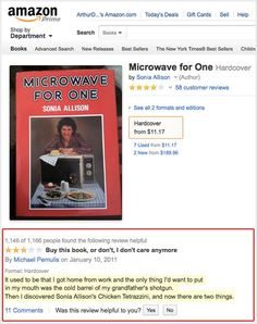Amazon review: Microwave for One.