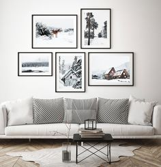 Winter Nature Scene with Moose in 5 Piece Gallery Wall Art Decor. Scandinavian Christmas Print Set with Snowy Nordic Trees Scandi Christmas, Christmas Wall Art, Plywood Furniture, Furniture Design, Wall Art Sets, Wall Art Decor, Wall Behind Couch, Living Room Wall Decor Ideas Above Couch, Over Couch Decor