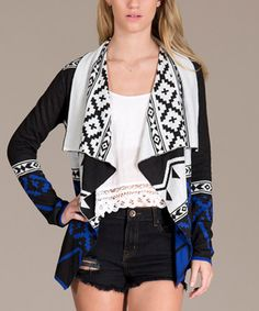 Love this Black & Blue Tribal Stripe Open Cardigan on #zulily! #zulilyfinds