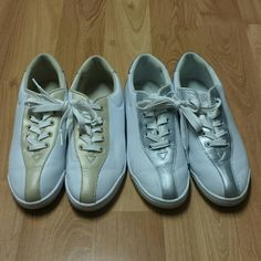 """FREE SHIPPING*2 pairs of """"Easy Spirit"""" comfy shoes Gold and Silver with white colors.  Gently used in good used condition.  Please see pictures as part of description.  All sales are final.  FREE SHIPPING* Make an offer of $5 less than the listed price using the *Offer* button! Bundle and Save even more.  Happy Poshmarking! Easy Spirit Shoes"""