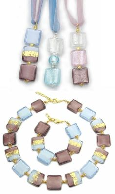 Venetian Murano glass jewelry with 24 carat gold leaf, hand made in Italy. Glass jewelry is different because it is colorful and imaginative. Necklace made from fashion big square glass beads (mm.20) with 24k gold foil. Wholesale handmade beaded jewelry line with a winning combination of colors in blue and purple style.