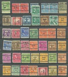 US lot of 43 EARLY CLASSICS # 567-20¢ Golden Gate, # 825 -20¢ Garfield precancel