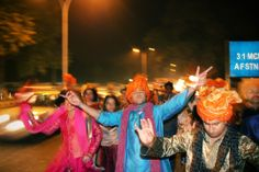 Indian dance party, on our way into the wedding grounds