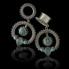 Turquoise Flesh Tunnel Earrings