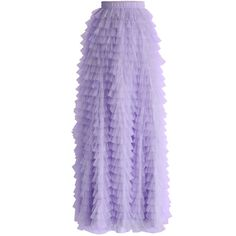 Chicwish Swan Cloud Maxi Skirt in Purple (1 890 UAH) ❤ liked on Polyvore featuring skirts, bottoms, maxi skirt, purple, lace skirt, long purple skirt, floor length skirts, elastic waist skirt and layered skirt