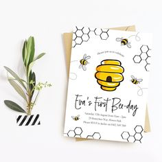 Honey Bee Birthday Invitation (Printable Digital File Only) Bee Party Favors, Party Favor Tags, Girl First Birthday, First Birthday Parties, Paris Birthday, Spa Birthday, Birthday Banners, Birthday Ideas, Printable Birthday Invitations