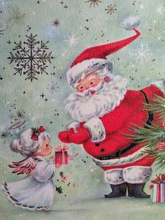 1960s Angel Presents A Gift to Santa Claus Vintage Christmas Card