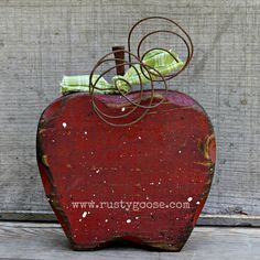 Red Apple Decor Fall Decor Primitive Apple by therustygoose, $6.50