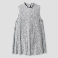 Girls' Ribbed Mock Neck Tank Top Solid Art Class - Grey L, Girl's