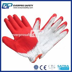 Made in China Red Latex Rubber Palm Coated Work Gloves