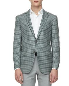 Check Two-Button Sport Coat, Green/Navy  by Ermenegildo Zegna at Neiman Marcus.