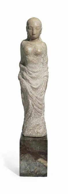 Jose de Creeft (1884-1982)  'Repose'  signed 'J de CREEFT' (behind arm)  pink marble  36½ in. (92.7 cm.) high on a 11¾ in. (29.9 cm.) marble base  Executed in 1951.
