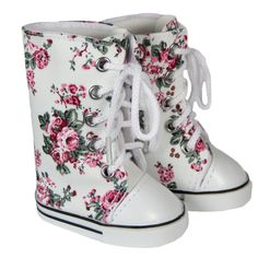 American Girl Doll  Shoes - Silly Monkey - White Knee-High Sneakers with Roses, $8.00 (http://www.silly-monkey.com/products/white-knee-high-sneakers-with-roses.html)