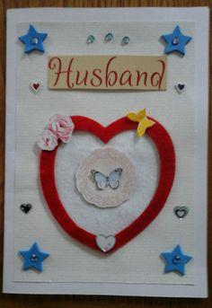 Felt Heart Husband Card with envelope 21x14.5cm by Bubucraft