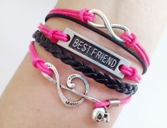 Bestfriend bracelet Infinity bracelet Skull Music Note bracelet Hot Pink bracelet Best Friend Gift - Personalized