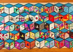 Cube Mural Inspired by Street Artist Thank YouX – Art is Basic Group Art Projects, Middle School Art Projects, Collaborative Art Projects, Classroom Art Projects, Art Classroom, Cube Mural, Art Cube, Mural Art, Math Art