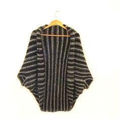 Hand Crochet Cardigan - Women's Long Wool Dolman - Oversized Open Front Sweater - Black Draped Cocoon Coat - Made To Order