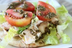 Chicken Pesto Open-Faced Flatbread Sandwich ~ This is so good!!!!
