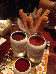 "Churros with Toffee, Dark Chocolate and Raspberry Dipping Sauces (""Max Brenner"", NYC, NY)"