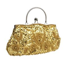BMC Beaded Sequin Design Metal Frame Kissing Lock Satin Interior Evening Clutch - Listing price: $29.99 Now: $16.24