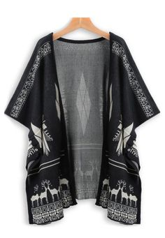Black Reindeer Patterned Open Front Kimono Cardigan http://trendtwo.com/collections/women/products/black-reindeer-patterned-open-front-kimono-cardigan #blackfriday #discount #trendtwo
