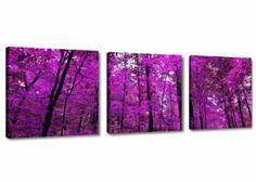 Visario Bilder auf Leinwand Bild 150 x 50 cm Lila Wald drei Teile