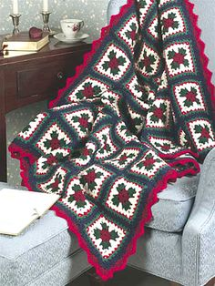 Christmas Granny Afghan Crochet Pattern (free membership required)