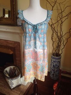 LILKA Anthropologie BOHO FESTIVAL DRESS WOMENS MEDIUM HIPPIE FLUTTER SLEEVE 6 8 #LILKA #EmpireWaist #Casual #anthropologie #boho #coachella #festival #fluttersleeve #sundress