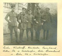 Manfred von Richthofen with the members of JG 1. Leutn. Mohnicke, Rittm. Frh. v. Richthofen, Leutn. Wolff, Leutn. Borkelmann, Leutn. Almenröder.