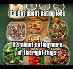 It's not about eating less. It's about eating more of the right things. So true!