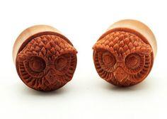 PAIR OF Sawo Wood Hand Carved Owl Ear Gauge Plug Organic Double Flare Tribal | eBay