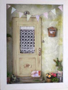 Домик небольшой Vitrine Miniature, Miniature Rooms, Dollhouse Door, Dollhouse Miniatures, Shadow Frame, Small Doors, Christmas Porch, Miniture Things, House Front