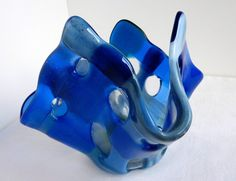 Glass Votive Candle Holder in Blues by bprdesigns on Etsy, $25.00