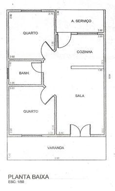 Projeto de casa de 2 quartos sala cozinha banheiro e área Minimalist House Design, Small House Design, Minimalist Home, Home Building Design, Home Design Plans, Building A House, Little House Plans, Tiny House Plans, Bungalow Floor Plans